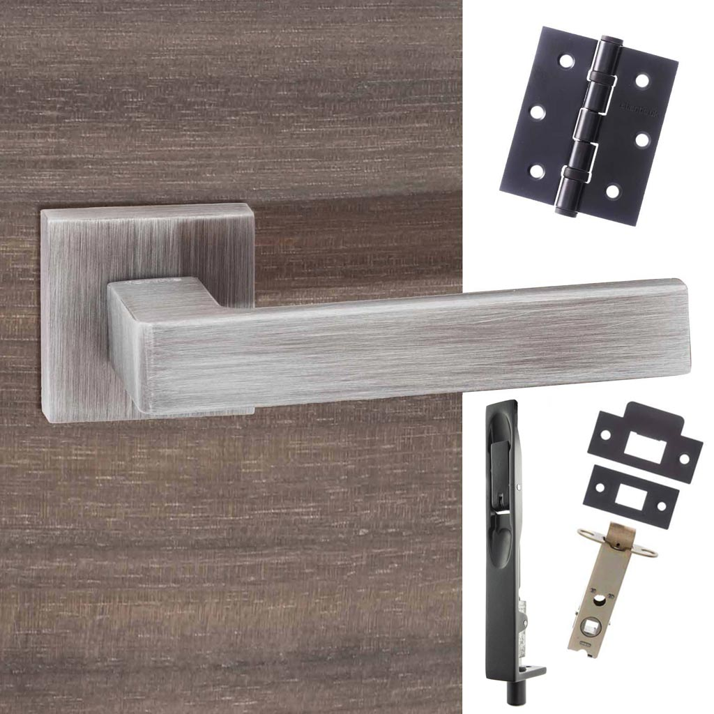 Double Door Pack Asti Forme Designer Lever on Minimal Square Rose Urban Graphite Combo Handle & Accessory Pack