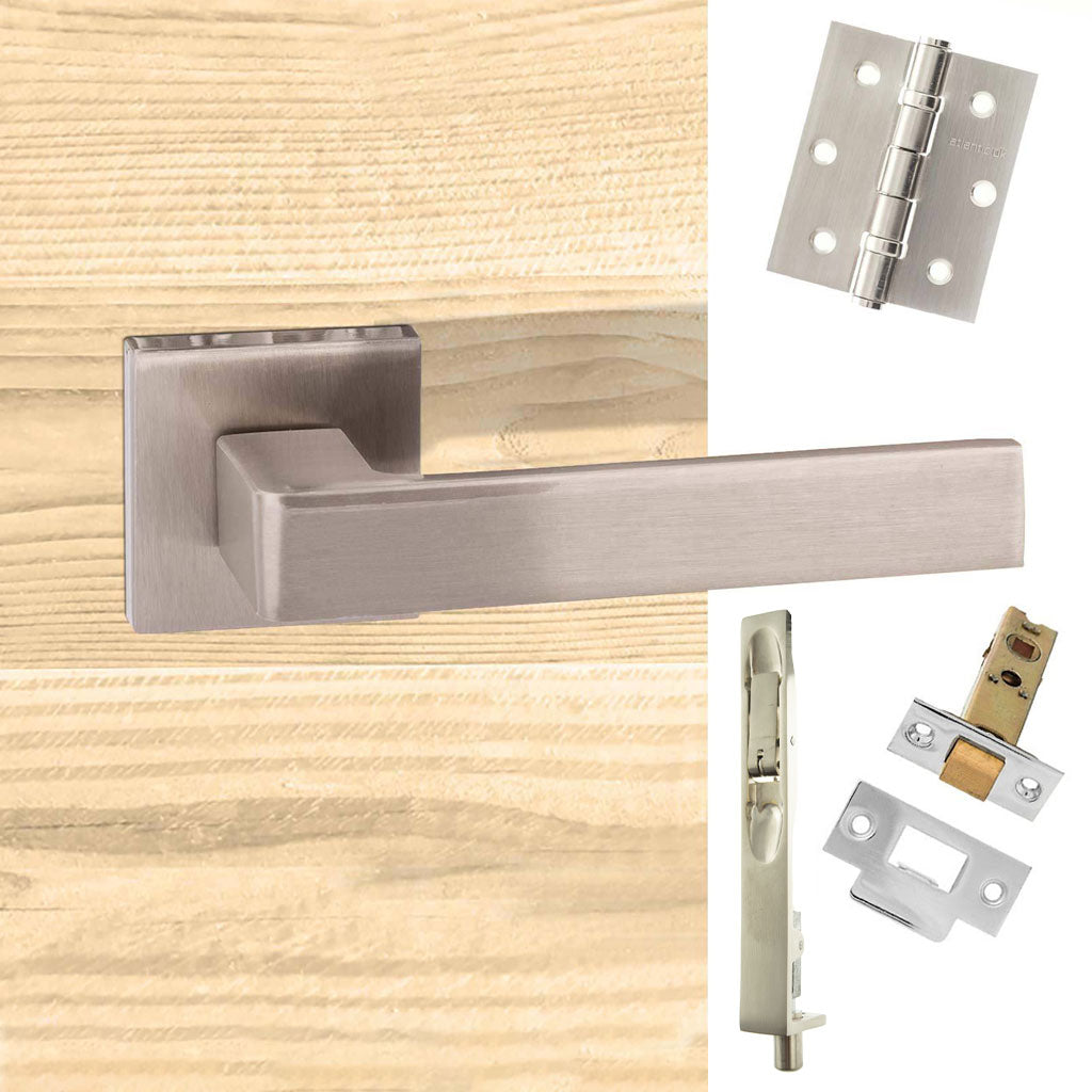 Double Door Pack Asti Forme Designer Lever on Minimal Square Rose Satin Nickel Combo Handle & Accessory Pack