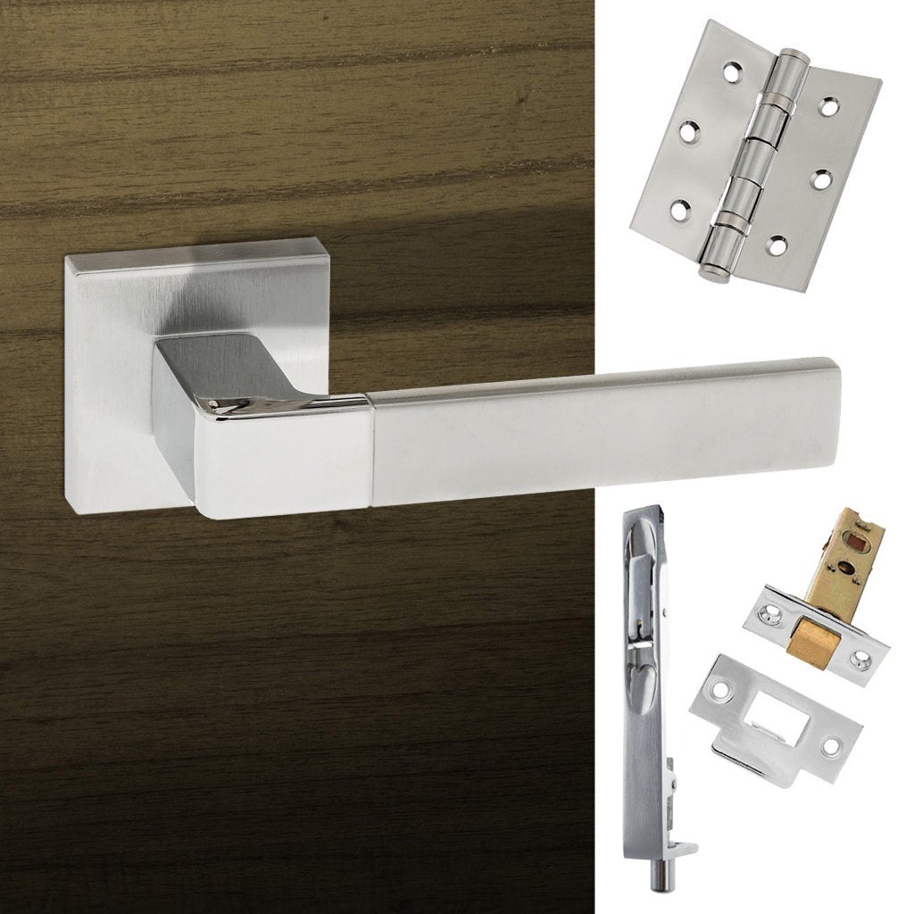 Double Door Pack Asti Forme Designer Lever on Minimal Square Rose Satin Chrome Polished Chrome Combo Handle & Accessory Pack