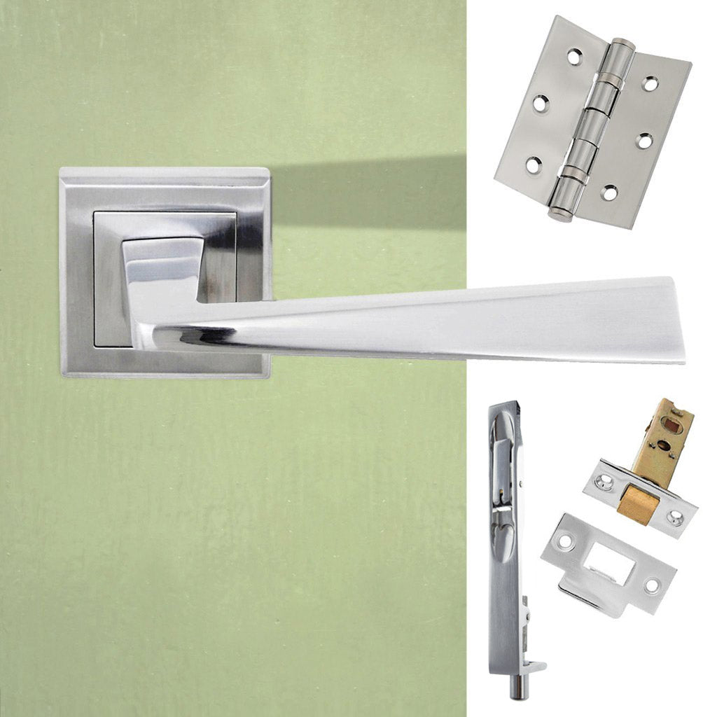 Double Door Pack California Status Lever on Square Rose Satin Chrome Combo Handle & Accessory Pack