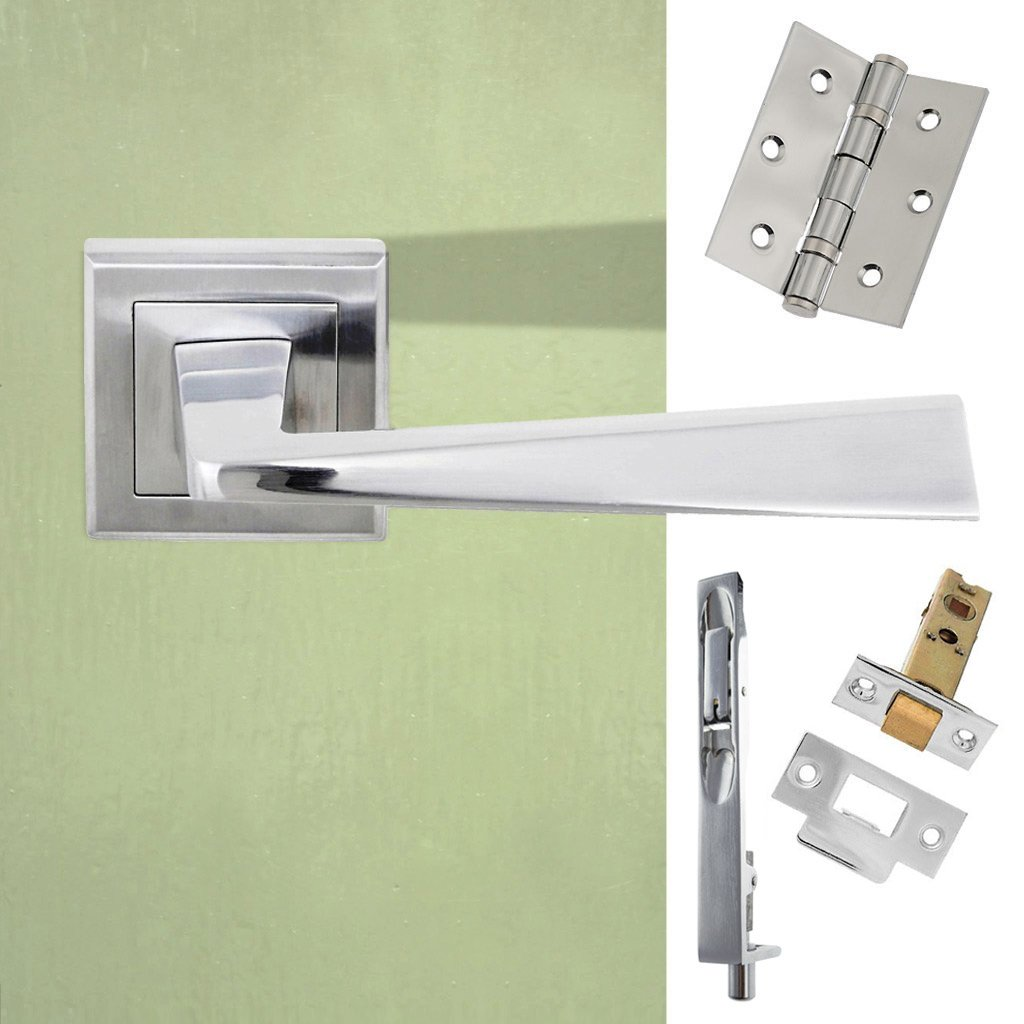 Rebated Double Door Pack California Status Lever on Square Rose Satin Chrome Combo Handle & Accessory Pack