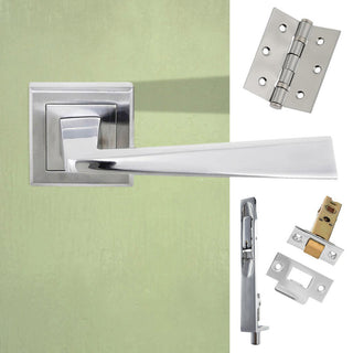 Image: Double Door Pack California Status Lever on Square Rose Satin Chrome Combo Handle & Accessory Pack