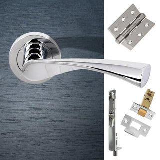 Image: Double Door Pack Colorado Status Lever on Round Rose Polished Chrome Combo Handle & Accessory Pack