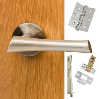 Image: Double Door Pack Corsica Mediterranean Lever On Rose Satin Nickel Combo Handle & Accessory Pack