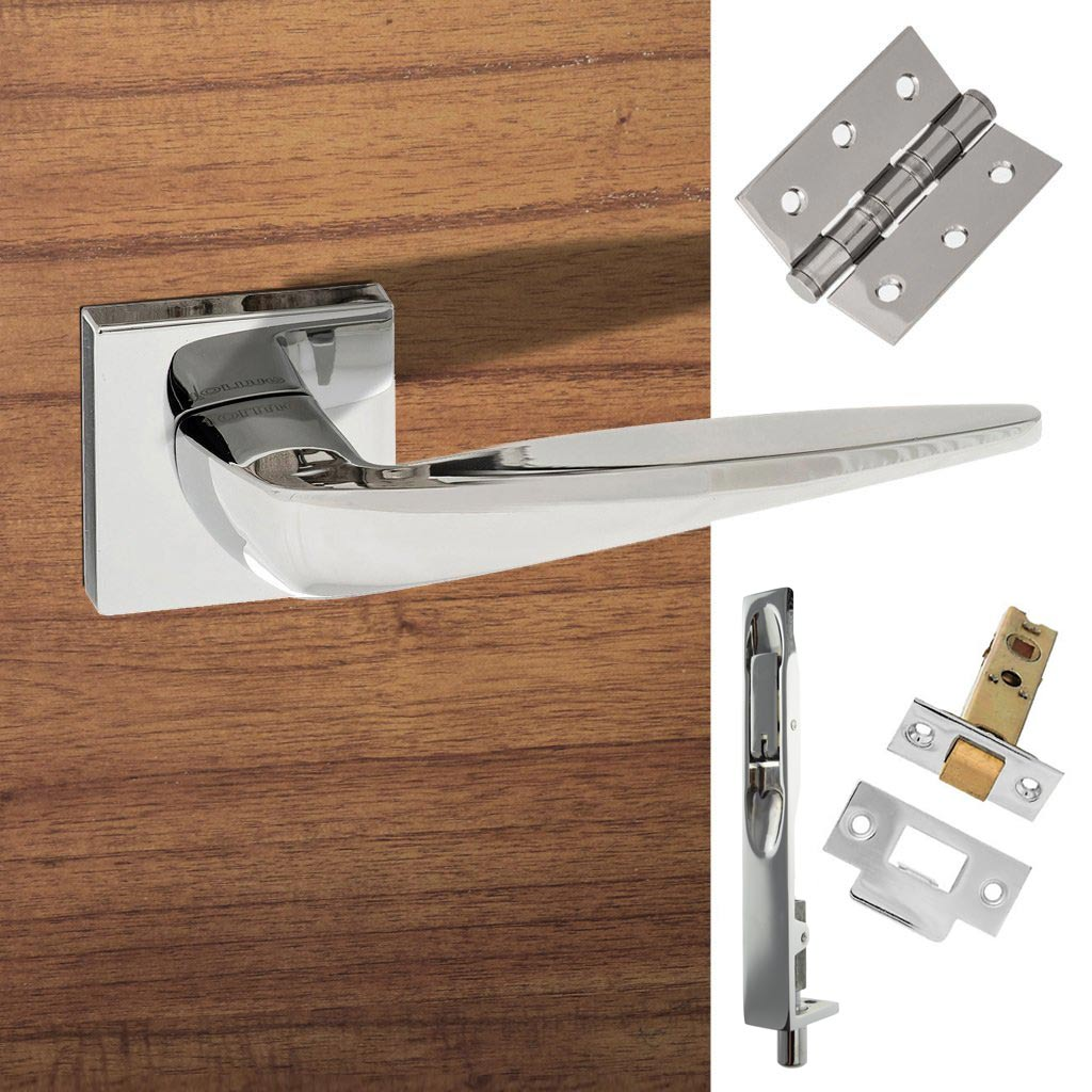 Double Door Pack Foglia Forme Designer Lever on Minimal Square Rose Polished Chrome Combo Handle & Accessory Pack