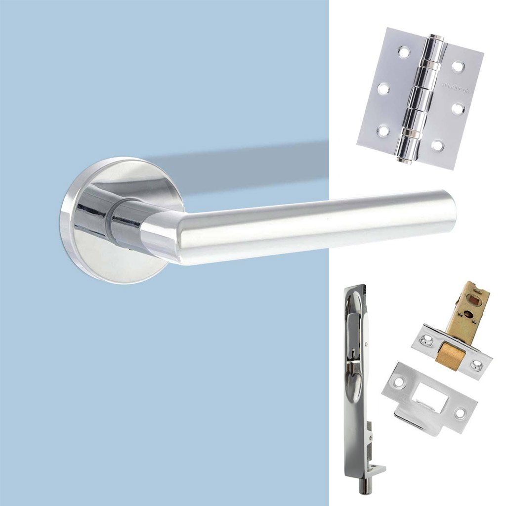 Rebated Double Door Pack Forme Elle Design Lever on Round Rose Polished Chrome Combo Handle & Accessory Pack