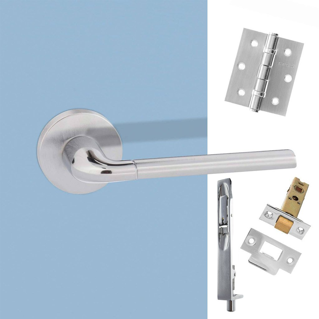 Rebated Double Door Pack Forme Milly Designer Lever on Round Rose Satin Chrome Polished Chrome Combo Handle & Accessory Pack