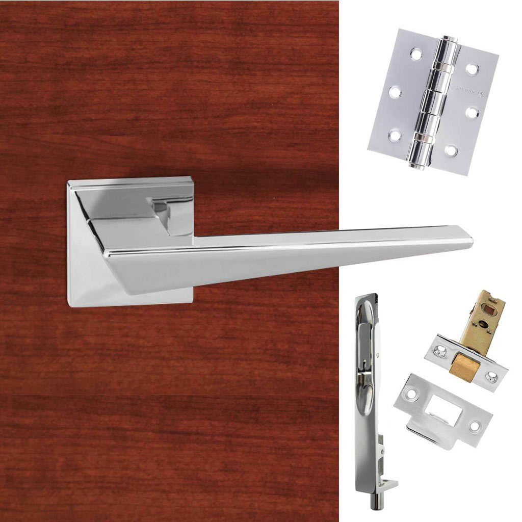Rebated Double Door Pack Forme Naxos Designer Lever on Minimal Square Rose Polished Chrome Combo Handle & Accessory Pack