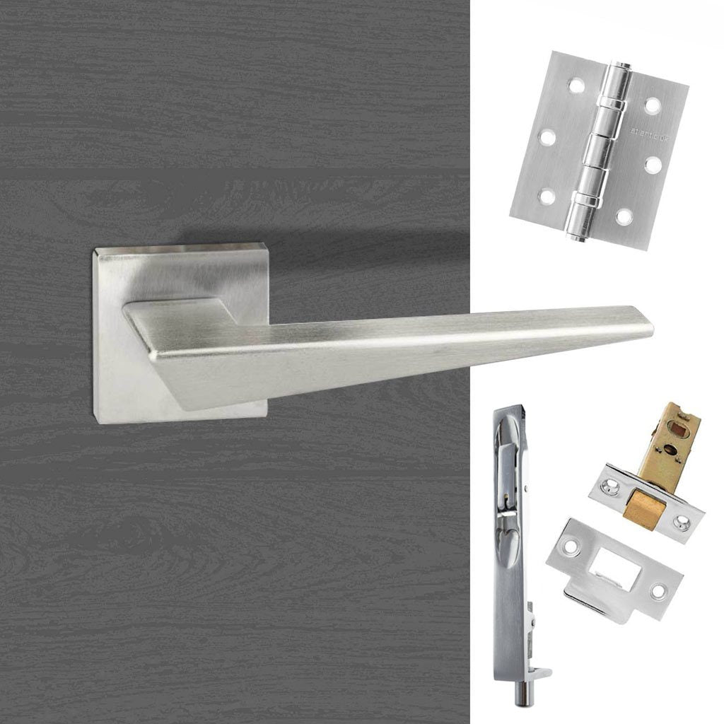 Rebated Double Door Pack Forme Naxos Designer Lever on Minimal Square Rose Satin Chrome Combo Handle & Accessory Pack