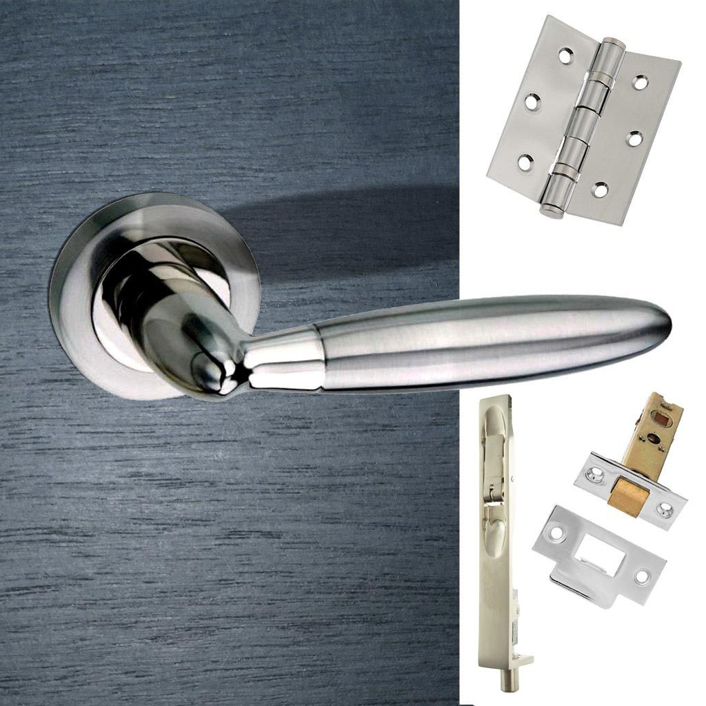 Rebated Double Door Pack Gibraltar Mediterranean Lever On Rose Satin Nickel/Polished Nickel Combo Handle & Accessory Pack