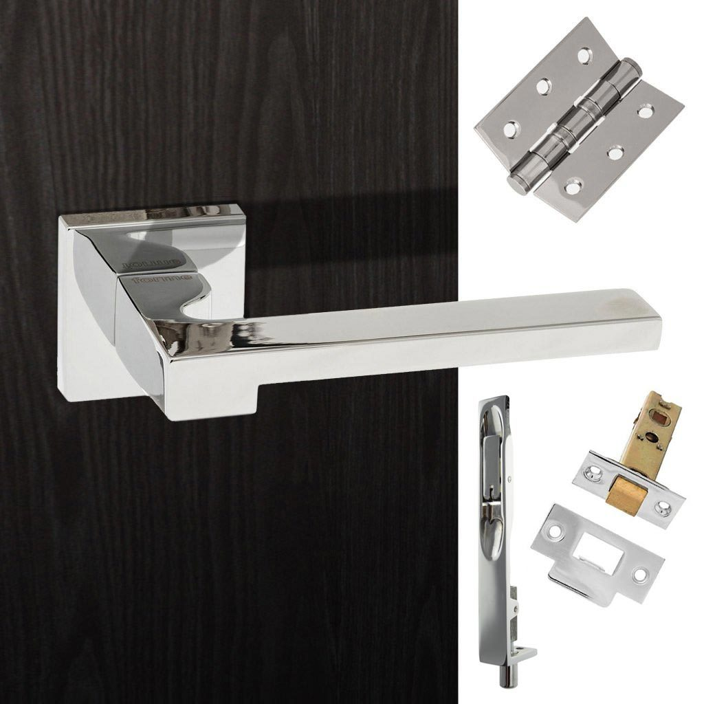 Rebated Double Door Pack Ginevra Forme Designer Lever on Minimal Square Rose Polished Chrome Combo Handle & Accessory Pack