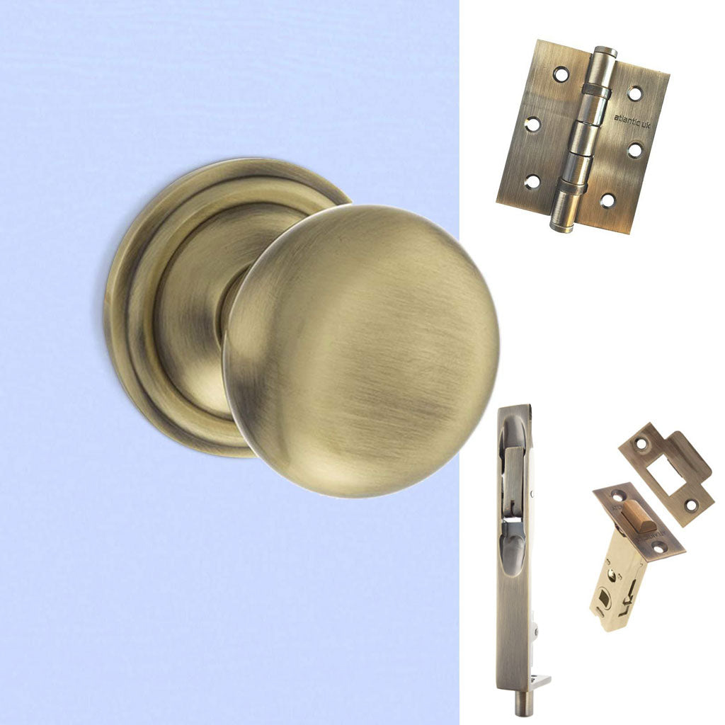Double Door Pack Harrogate Mushroom Old English Mortice Knob Antique Brass Combo Handle & Accessory Pack