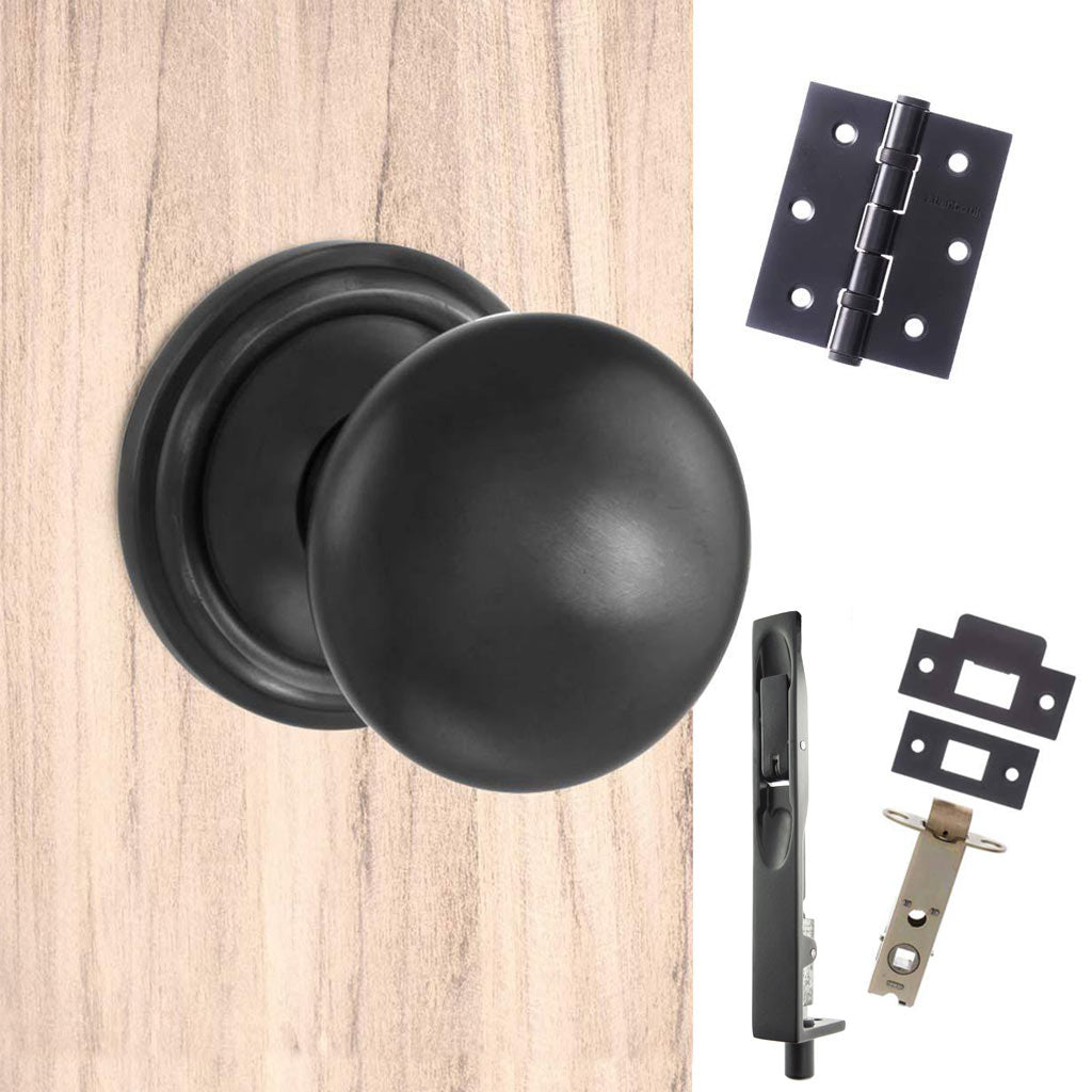 Double Door Pack Harrogate Mushroom Old English Mortice Knob Matt Black Combo Handle & Accessory Pack