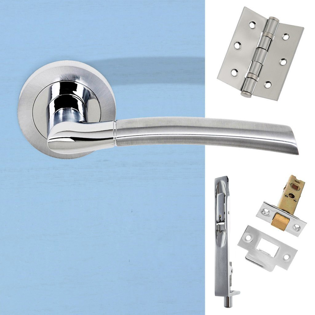 Rebated Double Door Pack Indiana Status Lever on Round Rose Satin Chrome Polished Chrome Combo Handle & Accessory Pack