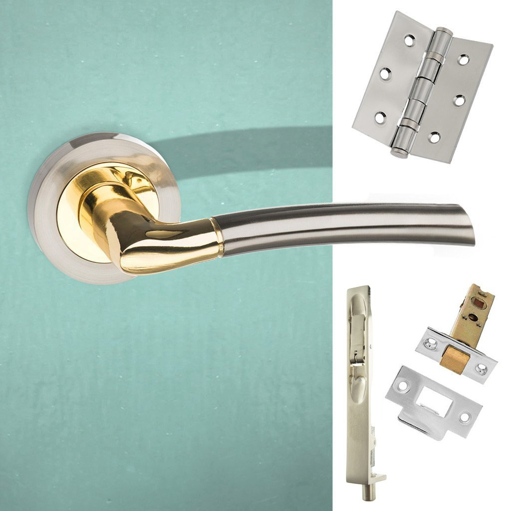 Rebated Double Door Pack Indiana Status Lever on Round Rose Satin Nickel Polished Brass Combo Handle & Accessory Pack