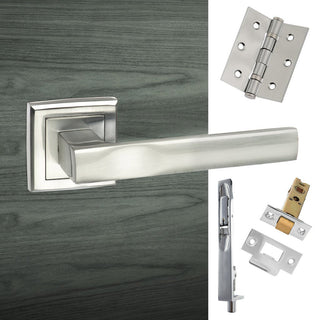 Image: Double Door Pack Kansas Status Lever on Square Rose Satin Chrome Combo Handle & Accessory Pack