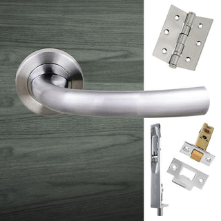 Image: Double Door Pack Nevada Status Lever on Round Rose Satin Chrome Combo Handle & Accessory Pack
