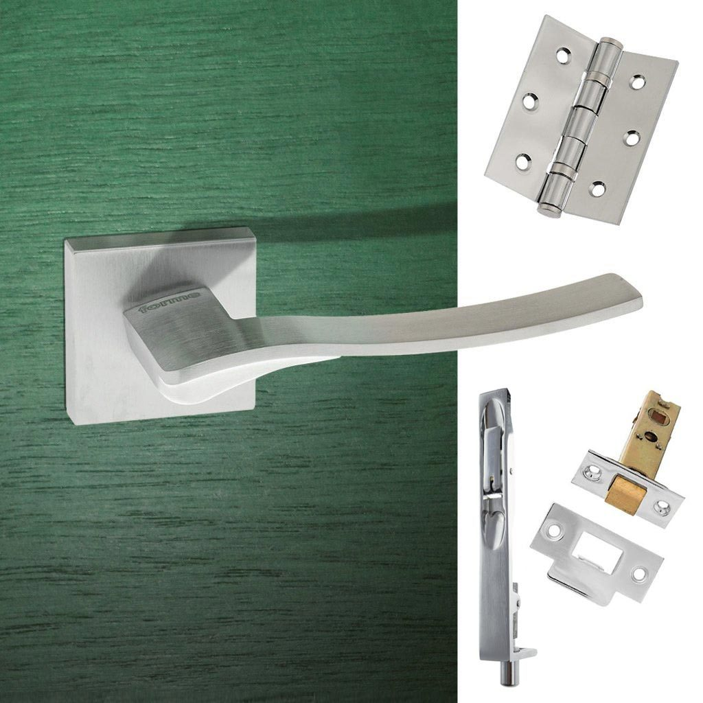 Rebated Double Door Pack Olimpia Forme Designer Lever on Minimal Square Rose Satin Chrome Combo Handle & Accessory Pack