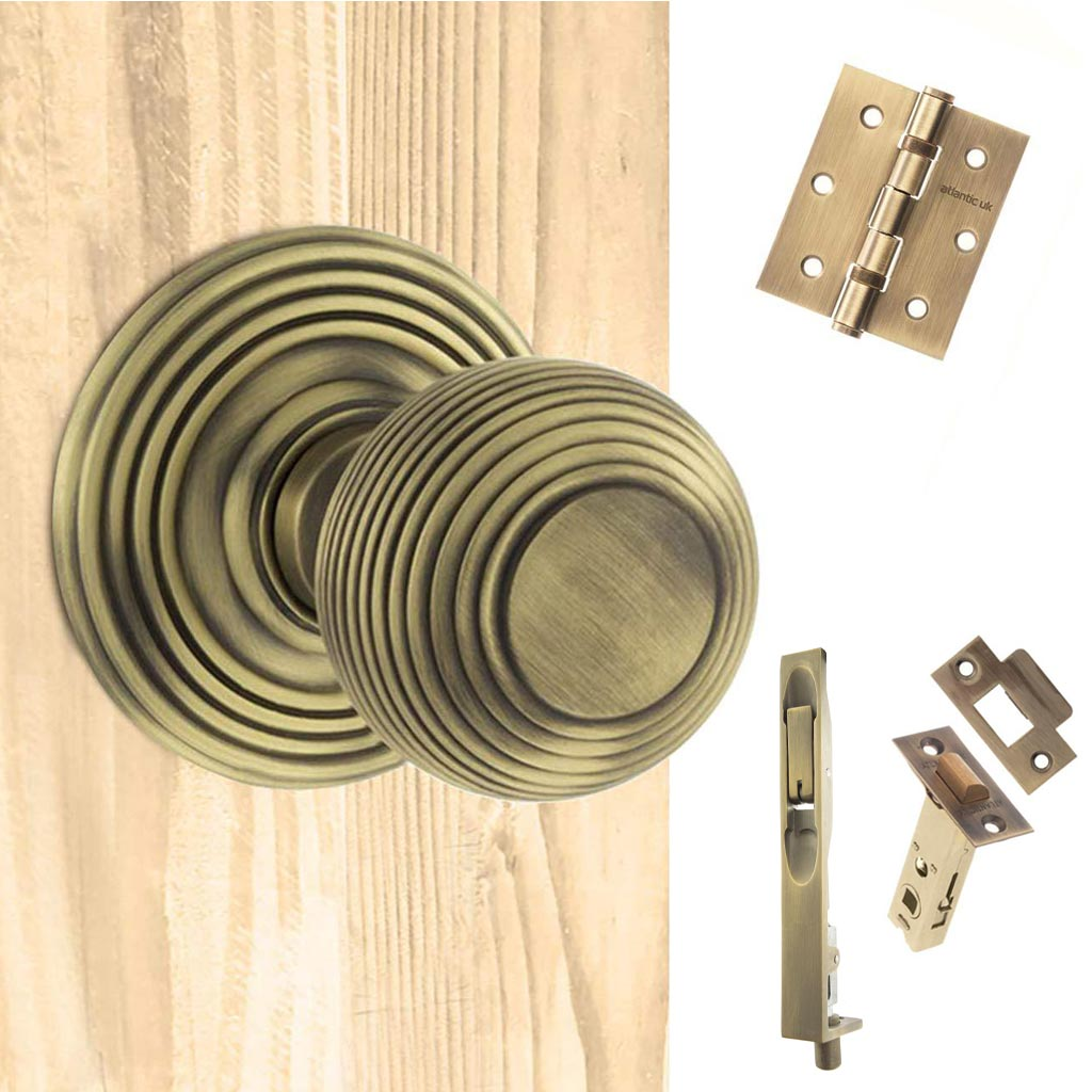 Double Door Pack Ripon Reeded Old English Mortice Knob Matt Antique Brass Combo Handle & Accessory Pack