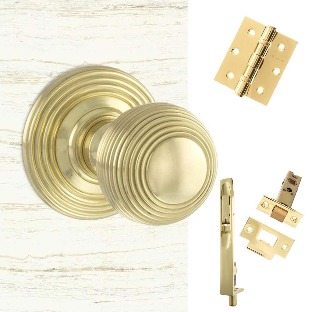 Double Door Pack Ripon Reeded Old English Mortice Knob Polished Brass Combo Handle & Accessory Pack
