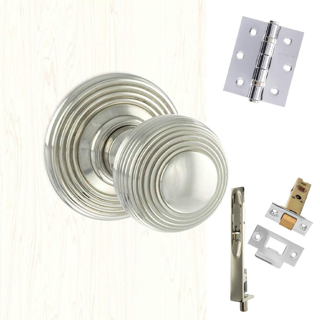 Rebated Double Door Pack Ripon Reeded Old English Mortice Knob Polished Nickel Combo Handle & Accessory Pack