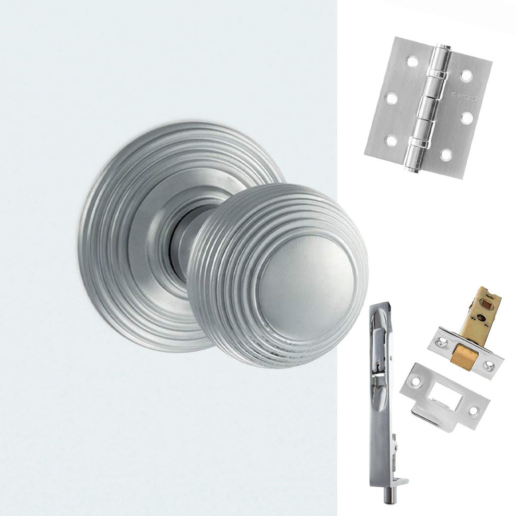 Double Door Pack Ripon Reeded Old English Mortice Knob Satin Chrome Combo Handle & Accessory Pack