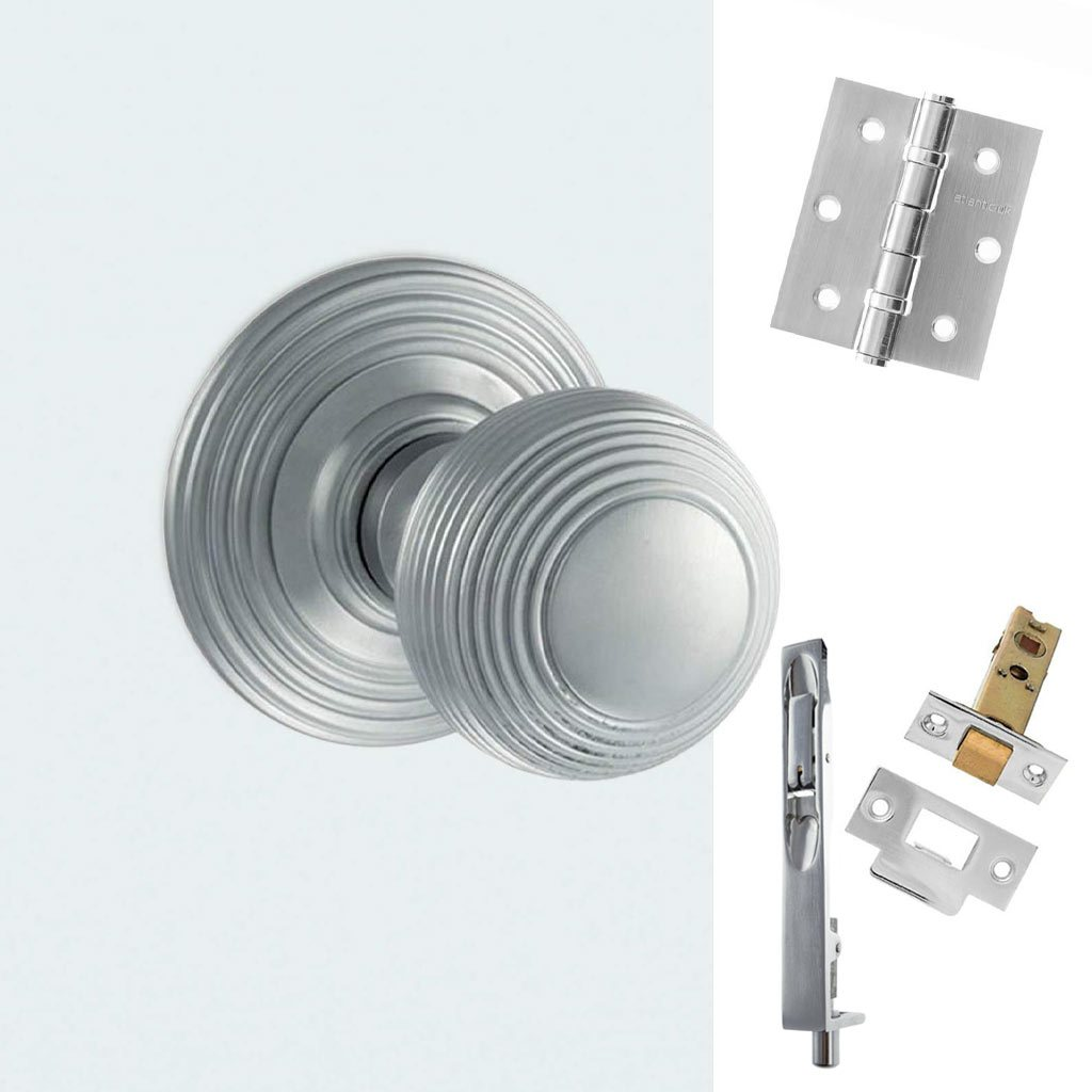 Rebated Double Door Pack Ripon Reeded Old English Mortice Knob Satin Chrome Combo Handle & Accessory Pack