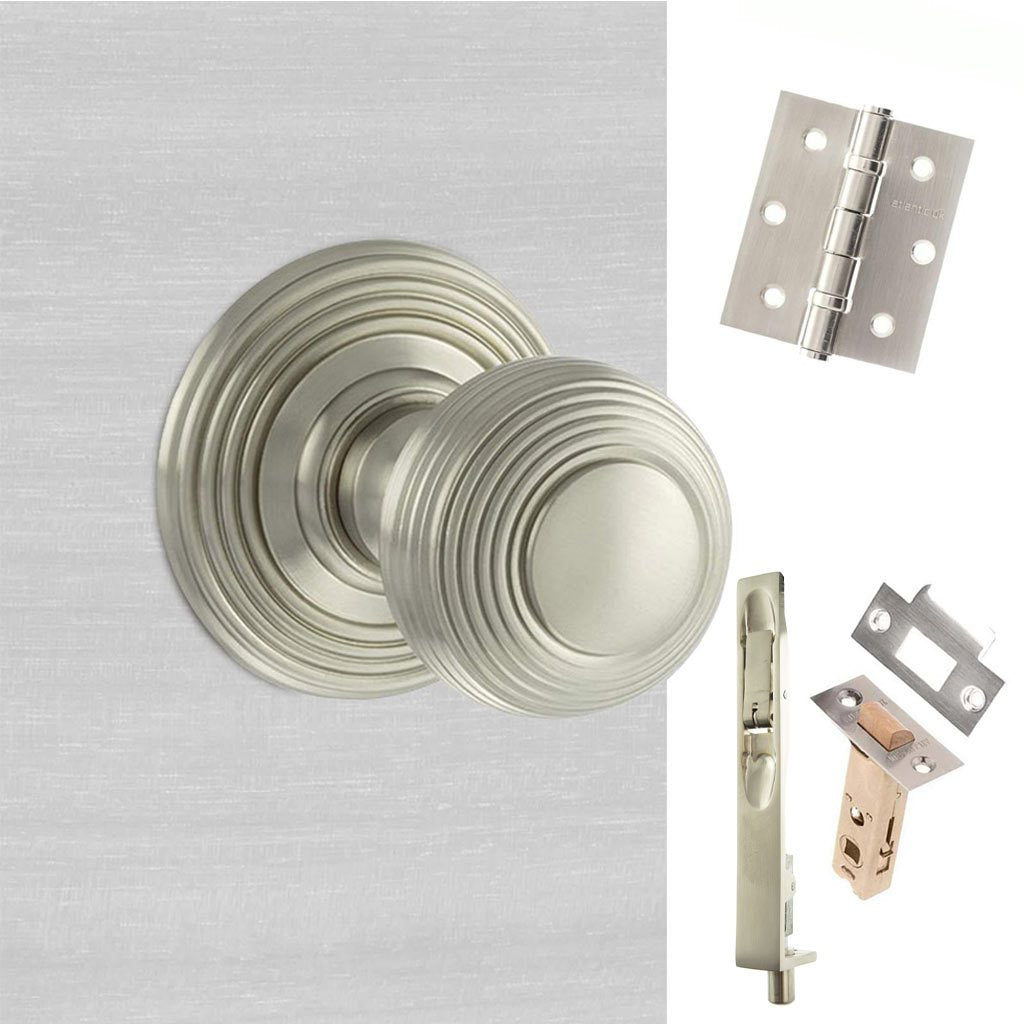 Rebated Double Door Pack Ripon Reeded Old English Mortice Knob Satin Nickel Combo Handle & Accessory Pack