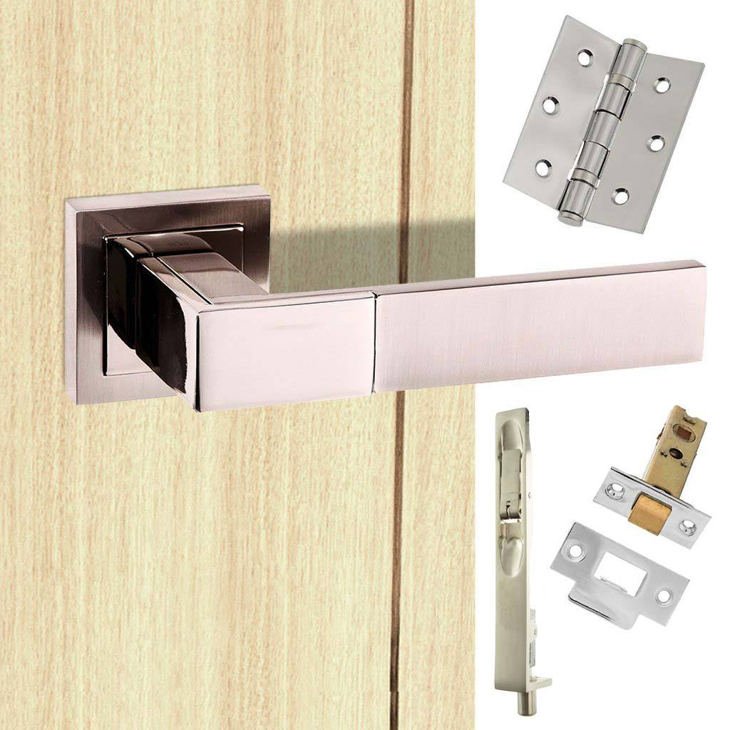 Rebated Double Door Pack Senza Pari Casalli Lever on Square Rose Satin Nickel Combo Handle & Accessory Pack