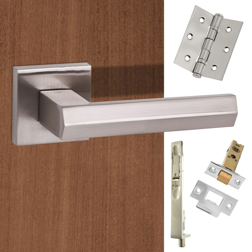 Double Door Pack Senza Pari Davoli Lever on Flush Rose Satin Nickel Combo Handle & Accessory Pack