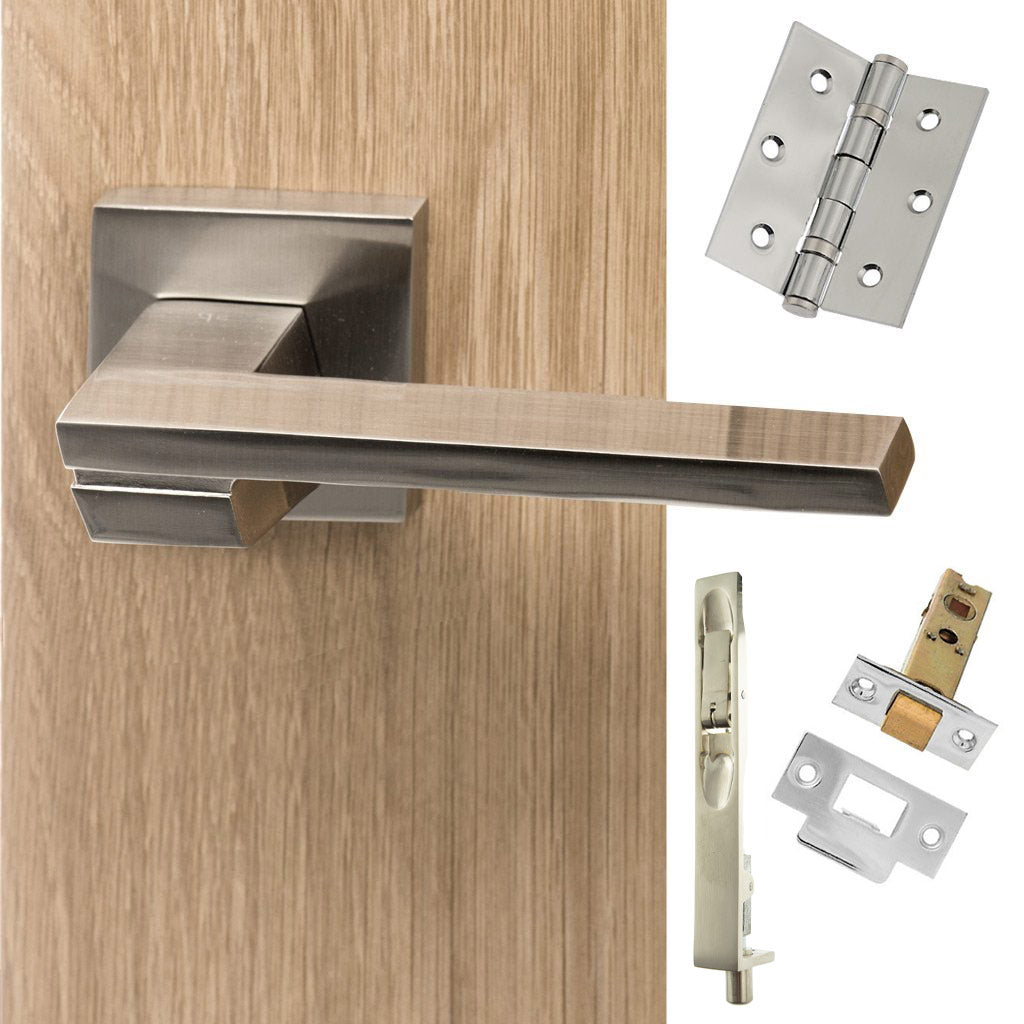 Double Door Pack Senza Pari Giovanni Lever on Flush Rose Satin Nickel Combo Handle & Accessory Pack