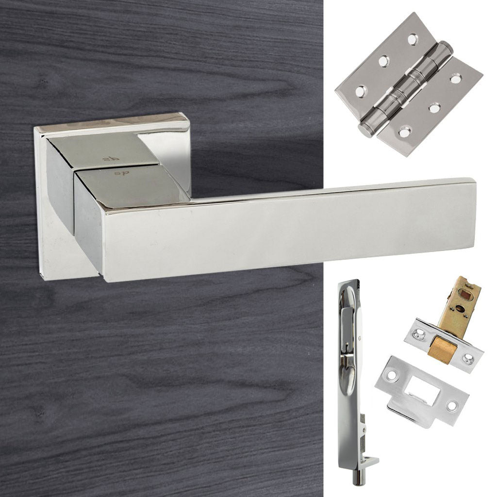 Double Door Pack Senza Pari Panetti Lever on Flush Rose Polished Chrome Combo Handle & Accessory Pack