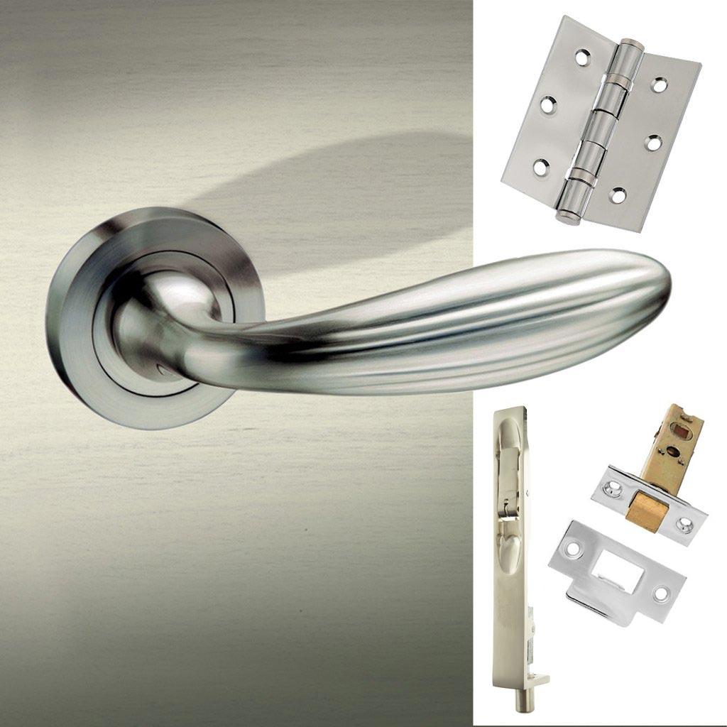Double Door Pack Terassa Mediterranean Lever on Rose Satin Nickel Combo Handle & Accessory Pack