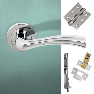 Image: Double Door Pack Texas Status Lever on Round Rose Polished Chrome Combo Handle & Accessory Pack