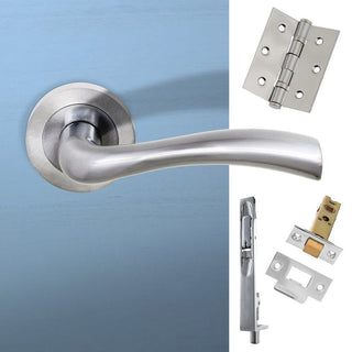 Image: Double Door Pack Texas Status Lever on Round Rose Satin Chrome Combo Handle & Accessory Pack