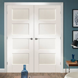 Image: Simpli Double Door Set - Shaker 4 Panel Door - White Primed