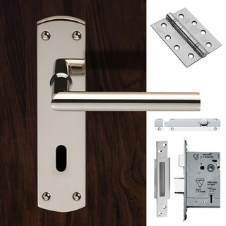 Image: Double Door Steelworx CSLP1162P/BSS Mitred Lever Lock Polished Stainless Steel - Combo Handle & Accessory Pack
