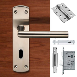 Image: Double Door Steelworx CSLP1162P/SSS Mitred Lever Lock Satin Stainless Steel - Combo Handle & Accessory Pack