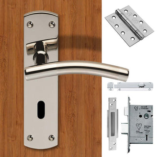 Image: Double Door Steelworx CSLP1163P/DUO Curved Lever Lock Bright Stainless Steel - Combo Handle & Accessory Pack