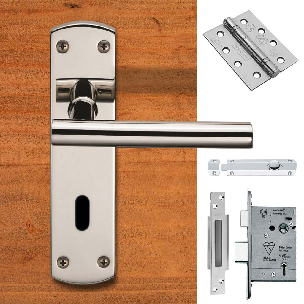 Double Door Steelworx CSLP1164P/BSS T-Bar Lever Lock Bright Stainless Steel - Combo Handle & Accessory Pack