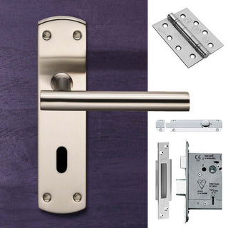 Image: Double Door Steelworx CSLP1164P/SSS T-Bar Lever Lock Satin Stainless Steel - Combo Handle & Accessory Pack