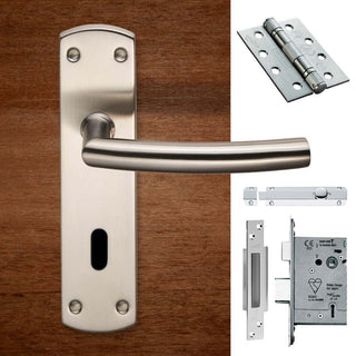 Image: Double Door Steelworx CSLP1167P/SSS Arched Lever Lock Satin Stainless Steel - Combo Handle & Accessory Pack