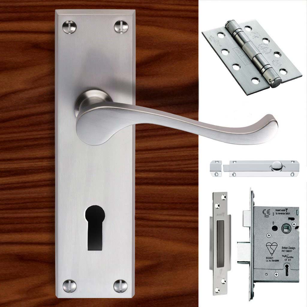 Double Door CBS54 Victorian Scroll Suite Lever Lock Satin Chrome - Combo Handle & Accessory Pack