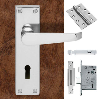 Image: Double Door CBV30 Victorian Suite Lever Lock Polished Chrome - Combo Handle & Accessory Pack