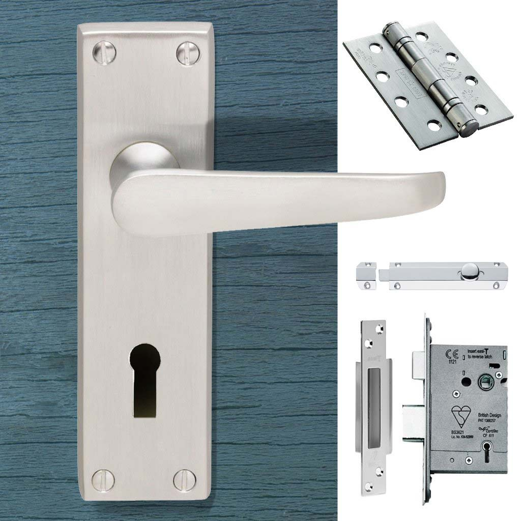 Double Door CBV30 Victorian Suite Lever Lock Satin Chrome - Combo Handle & Accessory Pack