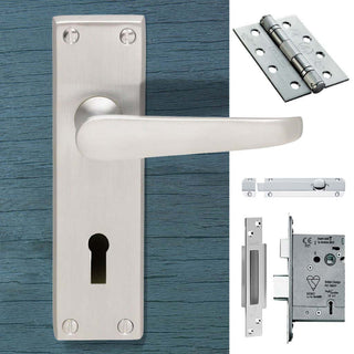 Image: Double Door CBV30 Victorian Suite Lever Lock Satin Chrome - Combo Handle & Accessory Pack