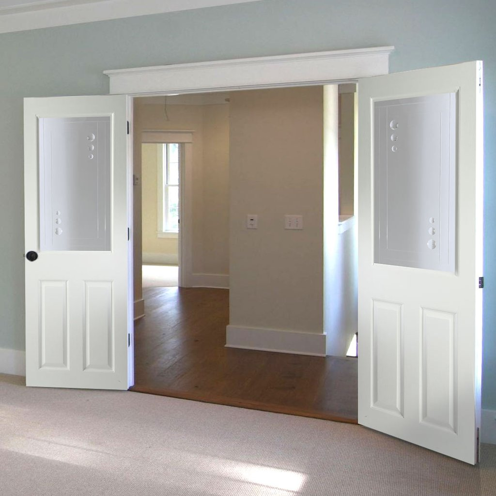 Eldon Internal PVC Door Pair with Clear Cut Lines and Crystal Jewels Clear Glass