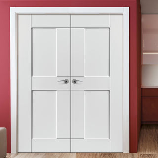 Image: J B Kind Eccentro White Primed Panel Door Pair