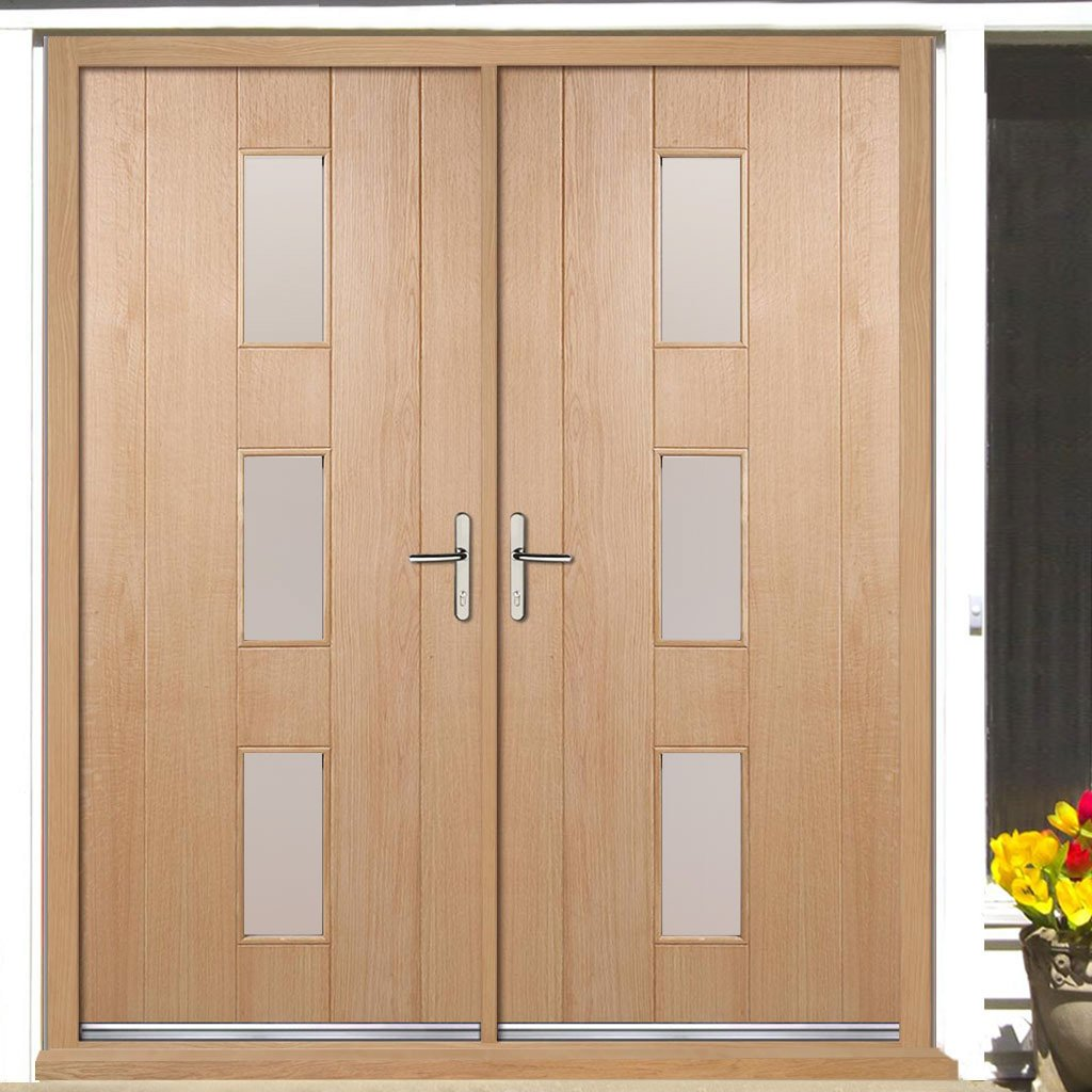 Copenhagen External Oak Double Door and Frame Set - Frosted Double Glazing, From LPD Joinery