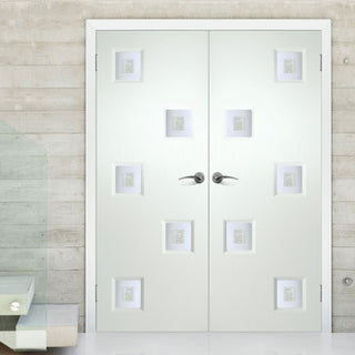 Image: Contemporary Internal PVC Door Pair - Charlotte Fusion 2 Geometric Design Glass